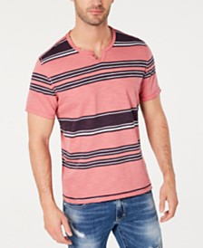 I.N.C. Men's Stripe Split-Neck T-Shirt, Created for Macy's