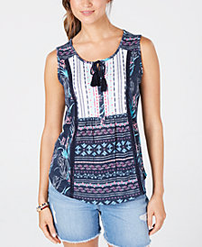 Style & Co Lace-Up Tasseled Top, Created for Macy's