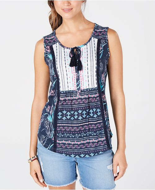 Style & Co Petite Mixed-Print Tie-Front Top, Created for Macy's