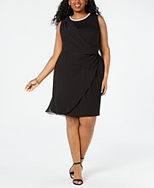 Plus Size Embellished Draped Sheath Dress