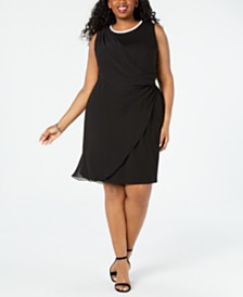 MSK Plus Size Embellished Draped Sheath Dress