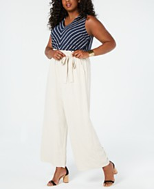 Monteau Juniors' Plus Size Striped Top & Paperbag-Pant Jumpsuit