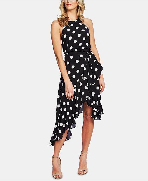 CeCe Dappled Dot Cascading Ruffle Dress