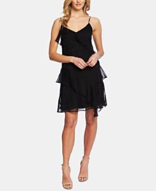 CeCe Embroidered Ruffled Dress
