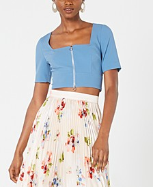 Square-Neck Zip Crop Top