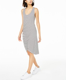Bar III Striped Ruched Racerback Dress, Created for Macy's