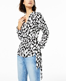 Bar III Cheetah-Print Wrap Top, Created for Macy's