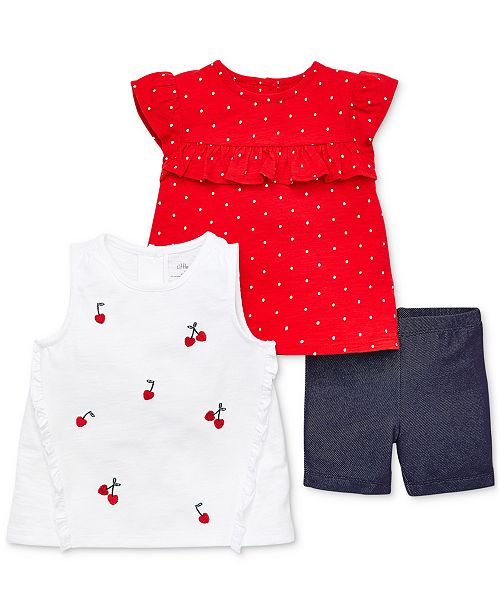 Little Me Baby Girls 3-Pc. Printed Shirts & Denim Shorts Set