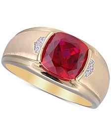 Men's Lab-Created Ruby (5 ct. t.w.) & Diamond Accent Ring in 10k Gold