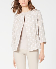 Anne Klein Printed Drawstring Open-Front Jacket