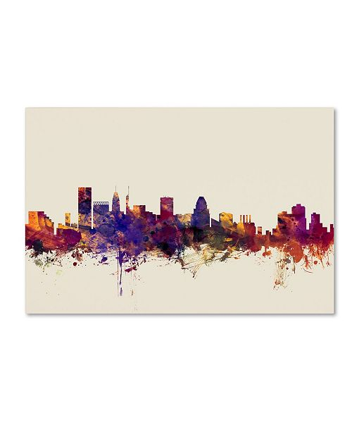 "Trademark Global Michael Tompsett 'Baltimore Maryland Skyline' Canvas Art - 12"" x 19"""