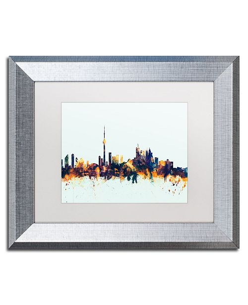 "Trademark Global Michael Tompsett 'Toronto Canada Skyline Blue' Matted Framed Art - 11"" x 14"""