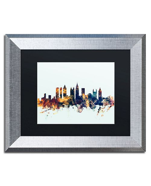 "Trademark Global Michael Tompsett 'Atlanta Georgia Skyline Blue' Matted Framed Art - 11"" x 14"""