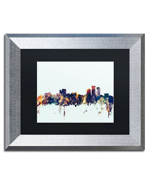 "Trademark Global Michael Tompsett 'Anchorage Alaska Skyline Blue' Matted Framed Art - 11"" x 14"""