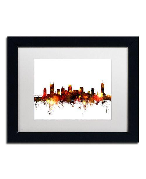 """Trademark Global Michael Tompsett 'Nashville Tennessee Skyline Red' Matted Framed Art - 11"""" x 14"""""""