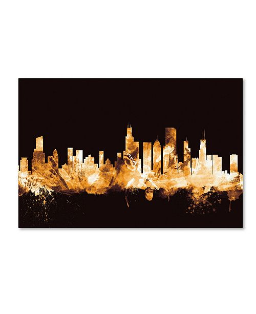 "Trademark Global Michael Tompsett 'Chicago Illinois Skyline Gold' Canvas Art - 12"" x 19"""