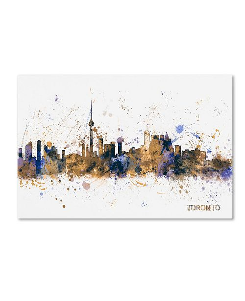 "Trademark Global Michael Tompsett 'Toronto Canada Skyline Purple' Canvas Art - 12"" x 19"""