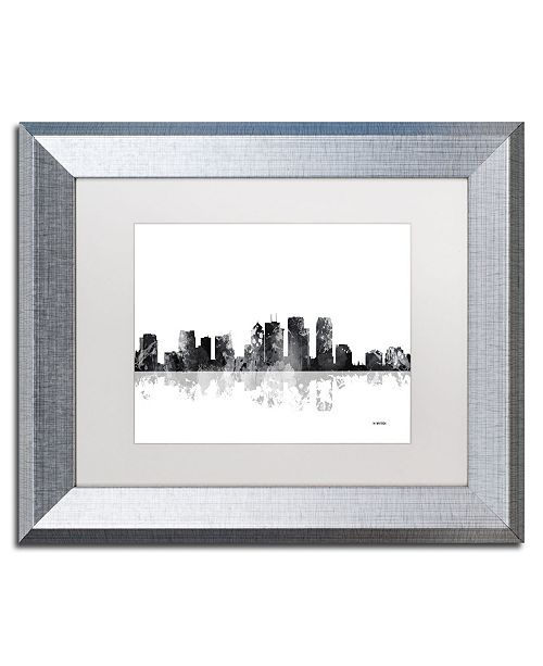"Trademark Global Marlene Watson 'Tampa Florida Skyline BG-1' Matted Framed Art - 11"" x 14"""
