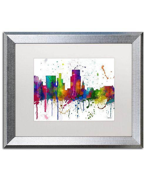 "Trademark Global Marlene Watson 'Boise Idaho Skyline Mclr-1' Matted Framed Art - 16"" x 20"""