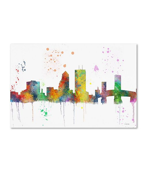 "Trademark Global Marlene Watson 'Jacksonville Florida Skyline Mclr-1' Canvas Art - 12"" x 19"""
