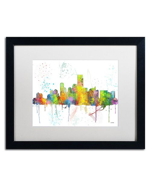 "Trademark Global Marlene Watson 'Jersey City New Jersey Skyline' Matted Framed Art - 16"" x 20"""
