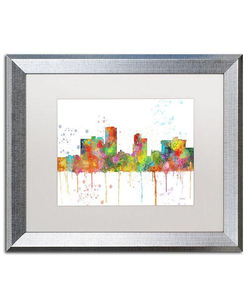 "Trademark Global Marlene Watson 'Little Rock Arkansas Skyline Mclr-1' Matted Framed Art - 16"" x 20"""