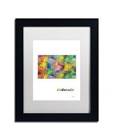 "Marlene Watson 'Colorado State Map-1' Matted Framed Art - 11"" x 14"""