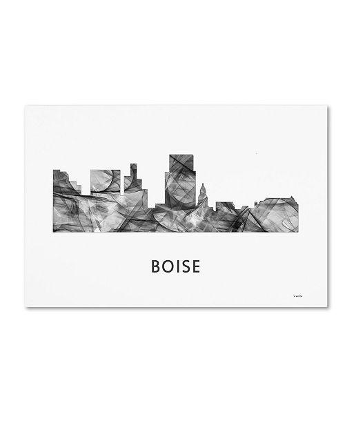 "Trademark Global Marlene Watson 'Boise Idaho Skyline WB-BW' Canvas Art - 12"" x 19"""