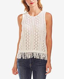 Diamond-Stitch Fringe Top