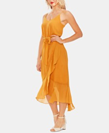Vince Camuto Tie-Waist Ruffled Dress
