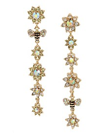 Betsey Johnson Mixed Flower & Bumble Bee Mismatch Linear Earrings