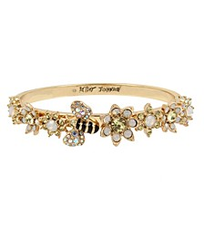 Bumble Bee & Mixed Flower Hinged Bangle Bracelet
