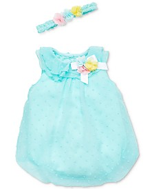 Little Me Baby Girls 2-Pc. Flower Crown & Romper Set