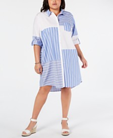 Tommy Hilfiger Plus Size Patchwork Shirt-Dress