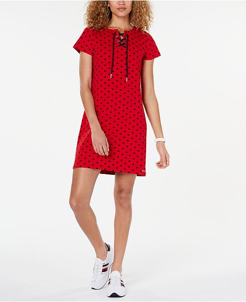 Tommy Hilfiger Star-Print Lace-Up Dress, Created for Macy's