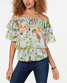 Printed Off-The-Shoulder Flounce Top, Created for Macy's