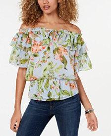 Tommy Hilfiger Printed Off-The-Shoulder Flounce Top, Created for Macy's