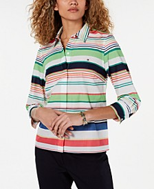 Cotton Striped Button-Up Top, Created for Macy's