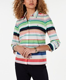 Tommy Hilfiger Cotton Striped Button-Up Top, Created for Macy's