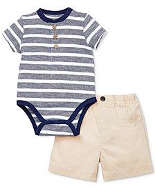 Little Me Baby Boys 2-Pc. Henley Cotton Bodysuit & Shorts Set