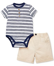 Little Me Baby Boys 2-Pc. Henley Cotton Bodysuit & Shorts Set
