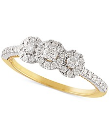 Diamond Triple Halo Engagement Ring (1/2 ct. t.w.) in 14k Gold & White Gold