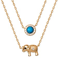 "Turquoise & Cubic Zirconia Elephant 18"" Pendant Necklace in 18k Gold-Plated Sterling Silver, Created for Macy's"