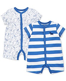 Little Me Baby Boys 2-Pk. Puppies Cotton Rompers