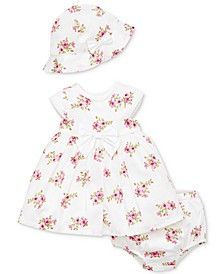 Baby Girls 3-Pc. Cotton Garden Dress, Diaper Cover & Hat Set