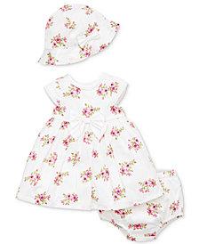 Little Me Baby Girls 3-Pc. Cotton Garden Dress, Diaper Cover & Hat Set