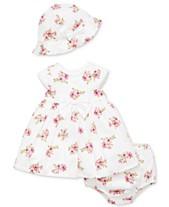 8bd3f430f Little Me Baby Girls 3-Pc. Cotton Garden Dress, Diaper Cover & Hat