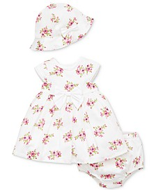 Little Me Baby Girls 3-Pc. Cotton Garden Dress, Diaper Cover & Hat Set