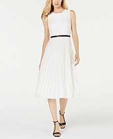 Belted Pleated Midi Dress