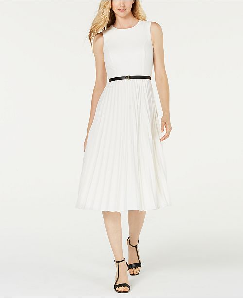 Calvin Klein Belted Pleated Midi Dress